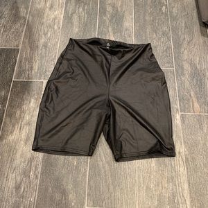 Black Faux Leather Missguided Bike Shorts
